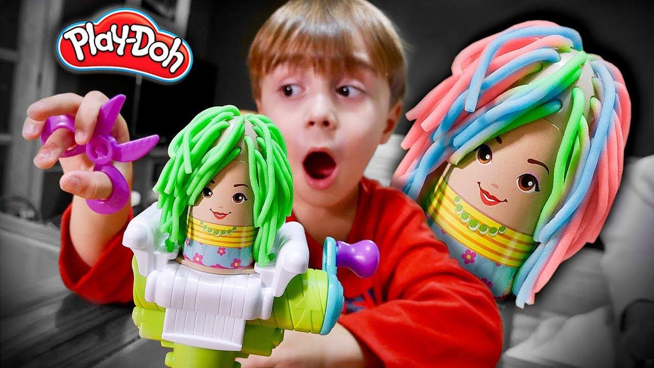 MASSINHA PLAYDOH CABELEIREIRO!! Pretend Play Fun Haircut for Kids