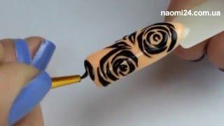 """Маникюрный дизайн """"Трафаретная роза"""""""
