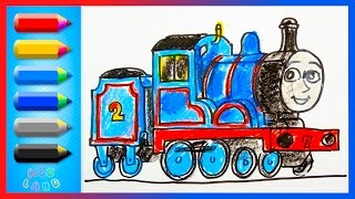 How to Draw Edward Blue Engine ♦ Thomas and Friends ♦ Drawing and Coloring Lesson for Kids