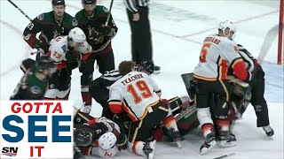 GOTTA SEE IT: Line Brawl Erupts Between Flames And Coyotes, Goalies Included