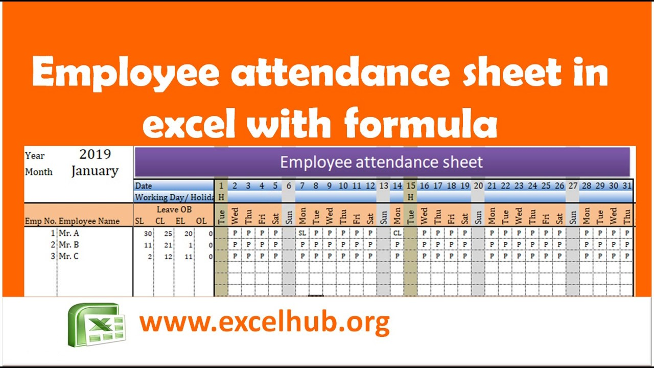 Employee Attendance Sheet In Excel With Formula Youtube