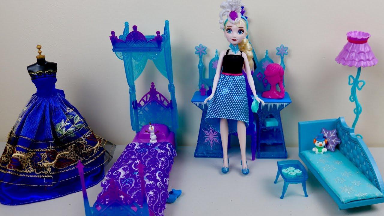 Disney Frozen Barbie Princess Bedroom Furniture Toy Unboxing Queen Elsa  Evening U0026 Morning Routine