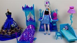 Disney Frozen Barbie Princess Bedroom Furniture Toy unboxing Queen Elsa Evening & Morning Routine