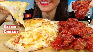 EATING EXTRA CHEESY PIZZA & SPICY CHICKEN WINGS ASMR 먹방 Real Sounds