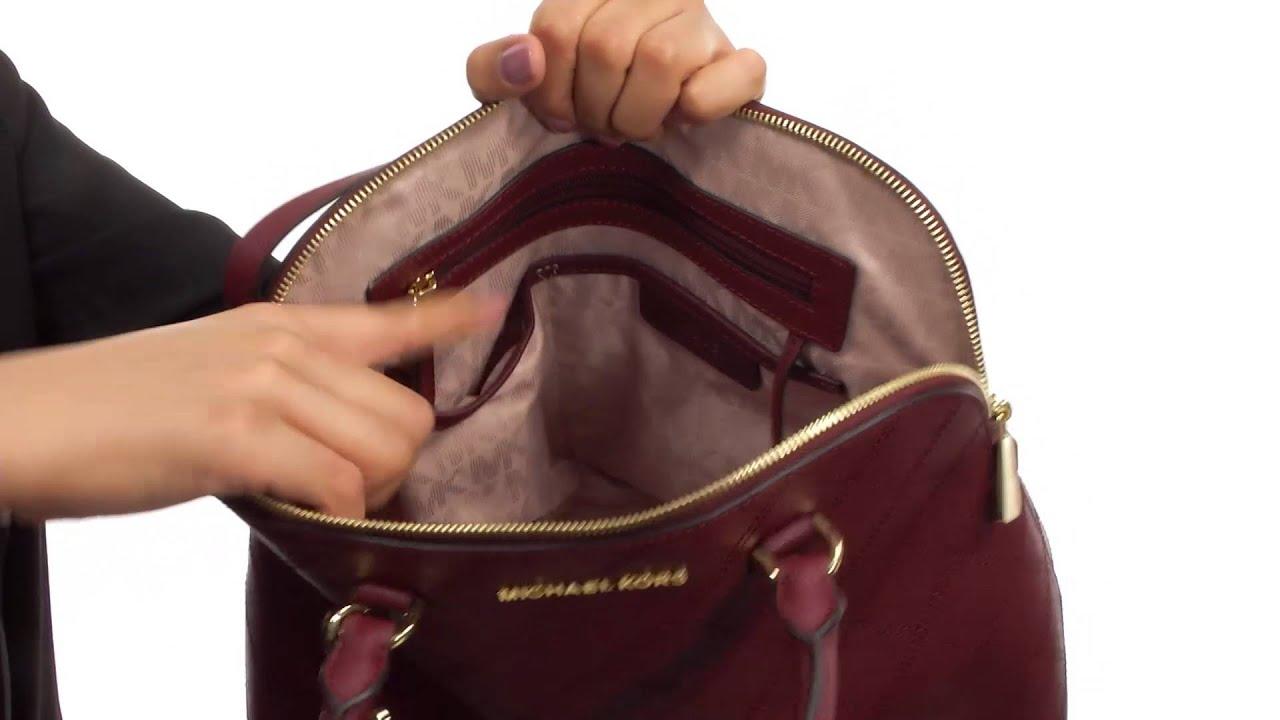 f64cf8eef16b MICHAEL Michael Kors Cindy Large Dome Satchel SKU 8606250 - YouTube