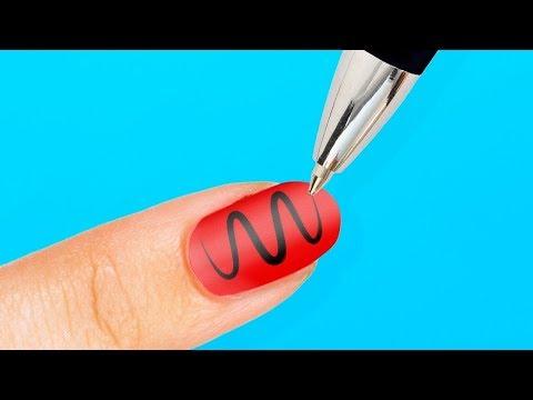 Как нанести рисунок на ногти в домашних условиях видео для начинающих