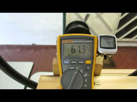 Hub Dynamo Output Voltage vs Speed (km/h at no-load conditions)