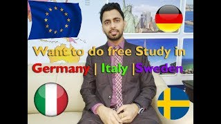 Free Study in Germany || Italy || Sweden || Denmark For International Students