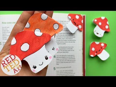 Kawaii Bookmark Corner - Easy MUSHROOM Bookmark DIY - Cute Fall Bookmark Ideas