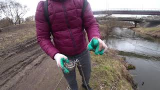 Магнитная рыбалка нашли первую монетку В поисках Клада