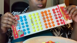 Eating Candy buttons, nice flavors crunchy sounds