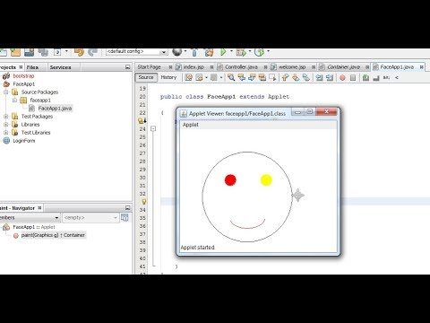 Applet Java Program With Animation Face Drawing Sam S Tutorial
