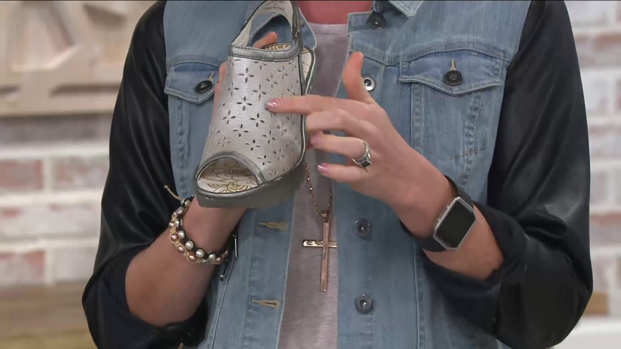 99db5d65514f FLY London Leather Perforated Wedges - Ybel on QVC - YouTube