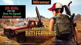 """[Hindi] PUBG Mobile   """"20 Kills"""" Duo Vs Squad In Miramar#RON+SRten"""