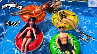 FLOATIES ! Miraculous Ladybug - Pool Party - Water fun Big float Splash Swim Doll Episode Season 2