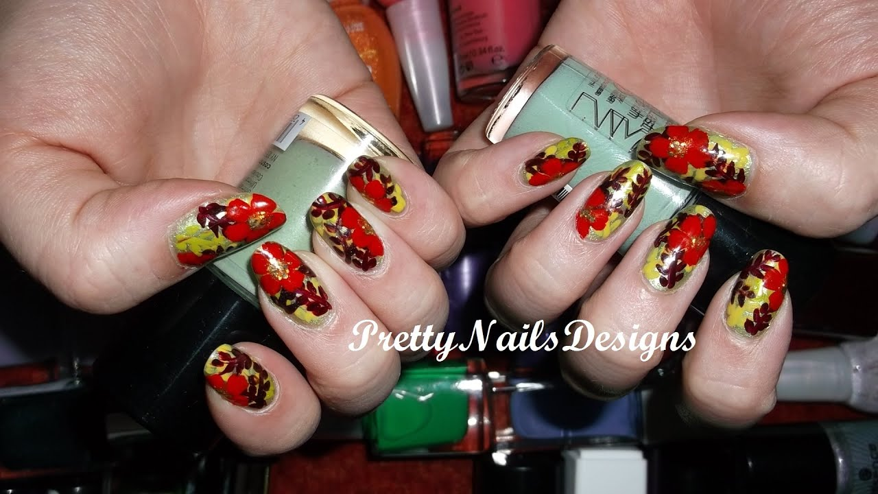 Jungle nail design with red hibiscus flower youtube jungle nail design with red hibiscus flower izmirmasajfo