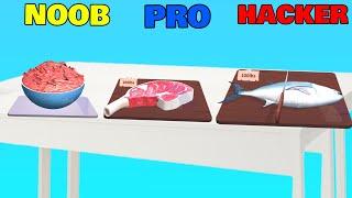 NOOB vs PRO vs HACKER in Food Cutting screenshot 2
