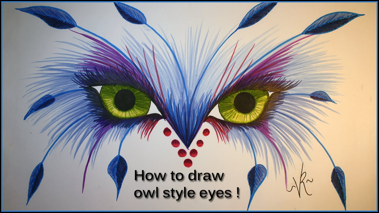 How To Draw Owl Style Eyes Youtube