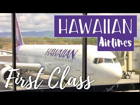 Flying First Class on Hawaiian Airlines Boeing 767 from Kauai to Honolulu, Hawai