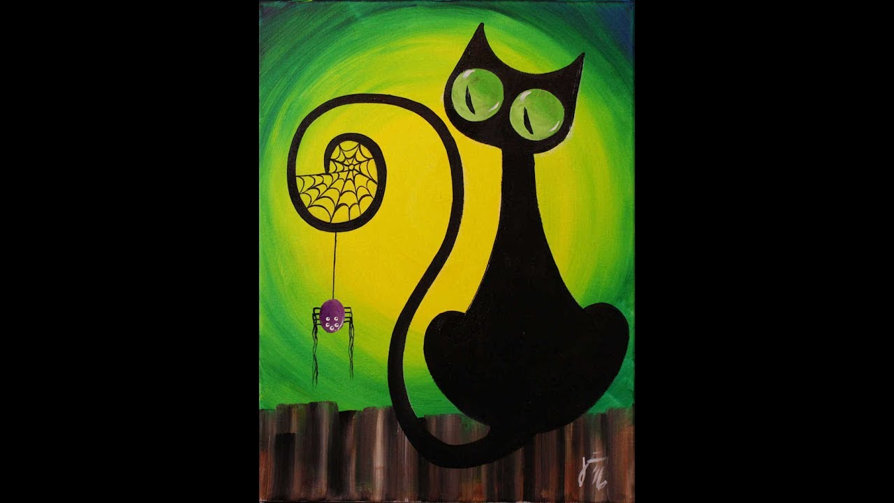 Spooky The Cat Step By Acrylic Painting On Canvas For Beginners