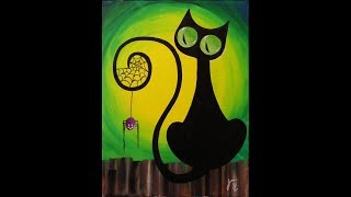 Spooky the Cat Step by Step Acrylic Painting on Canvas for Beginners