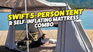 Adventure Kings Swift 5 Person Tent & Self-Inflating Mattress Combo