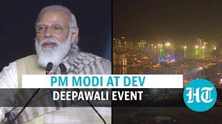 Watch: PM Modi lights diya at Dev Deepawali event; 'inheritance' jibe at oppn