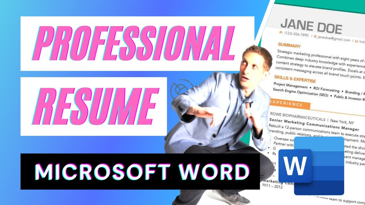 create a professional resume in microsoft word youtube