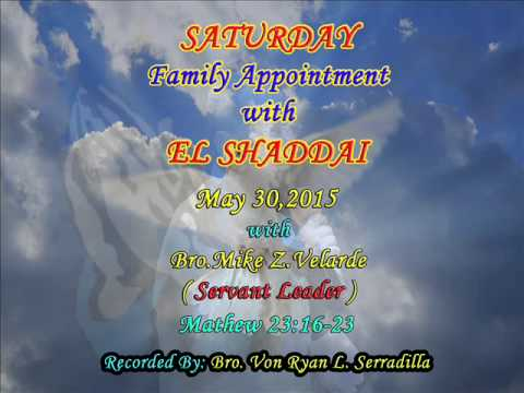 SATURDAY FAMILY APPOINTMENT with EL SHADDAI - 30/05/15