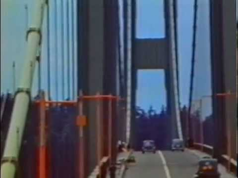 Colour footage of the Tacoma Narrows bridge