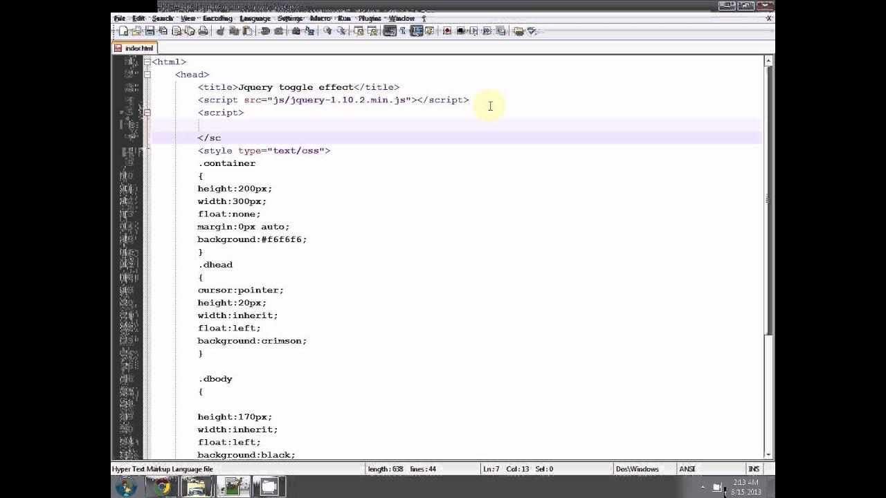 Jquery toggle effect tutorial jquery slidetoggle tutorial div toggle effect youtube - Jquery toggle div ...