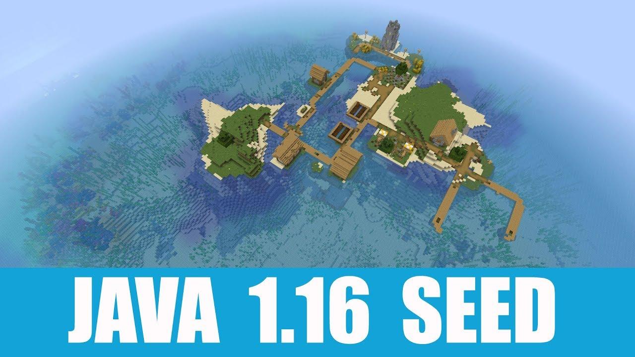 Minecraft Java 1 16 Seed Island Village With Coral Reef And Underwater Ravine Youtube