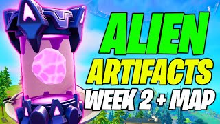 Alient Artifacts Week 2 LOCATIONS (ALL Locations & Map) - Fortnite
