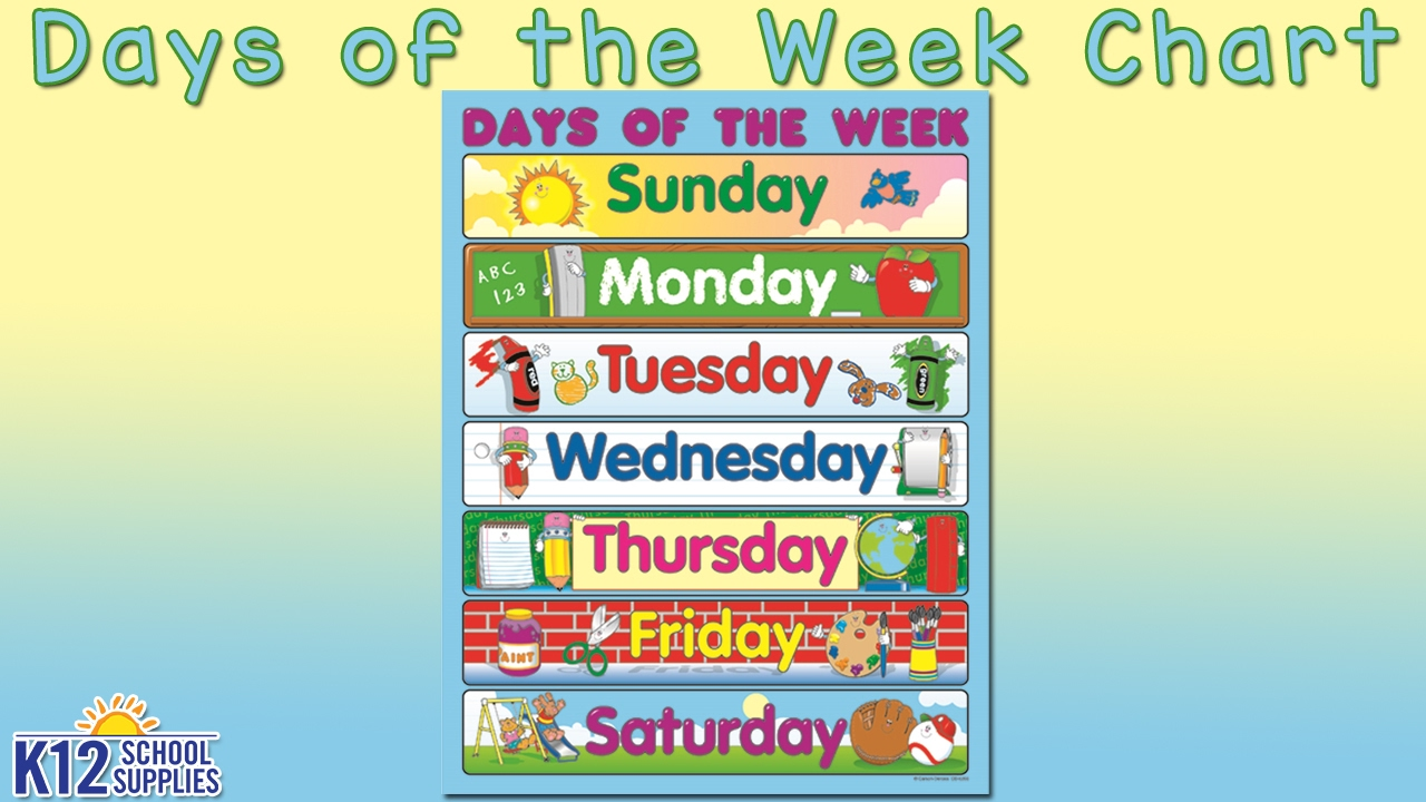 Best Kids Posters - Days of the Week Chart - Teacher Supplies - YouTube