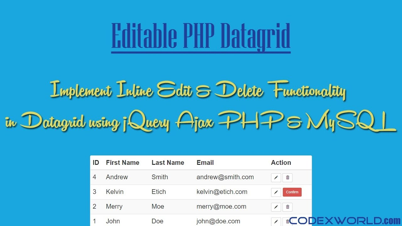 Inline Table Editing using jQuery Ajax PHP and MySQL - CodexWorld