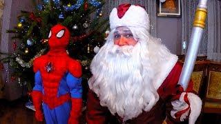 Настоящий Дед Мороз и Человек Паук! Давид и Даня с сестрой Настей =)