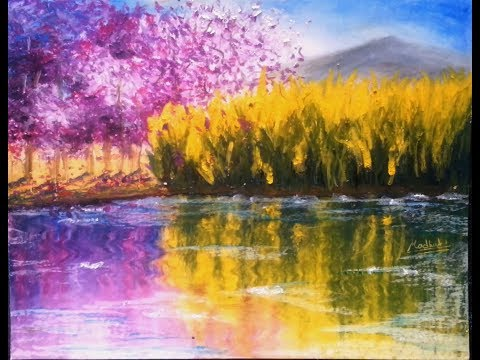 Waterside - Oil Pastel Tutorial | How to paint a landscape with oil pastel