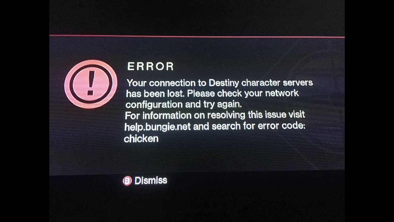 Destiny Error Code Chicken Your Connection To Destiny Character