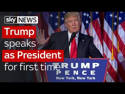 Donald Trump speaks after being elected President of the United States