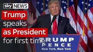 Donald Trump speaks after being elected President of the United States thumbnail