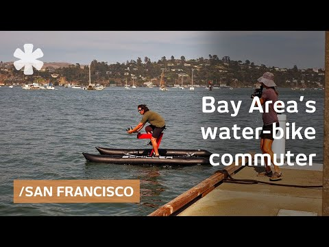 Commuter builds water bike to pedal across San Francisco Bay