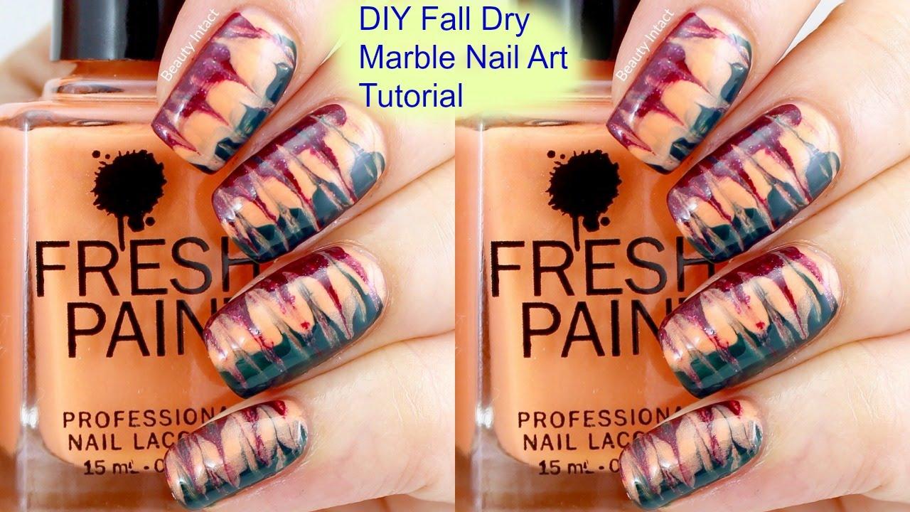 Diy Fall Dry Marble Nail Art Tutorial Beauty Intact Youtube