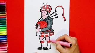 How to draw and color a Bagpiper