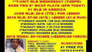 FREE MLB PICKS, 7*MLB TODAY 7:05PM, JUNE MLB: 20-6 (77%) +$5600, TWO 5*WCUP @ 2PM [06-27-18]