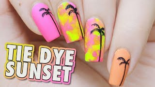 Psychedelic Neon Tie Dye Summer Sunset Palm Tree Nail Art