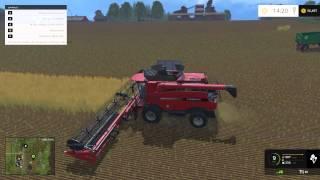 descarregando colhedora case 7130 farming simulator 2015