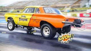 TERRIBLE TEMPEST TOASTS THE REAREND! INJECTED 496 CI! XTRA POWER FINDS THE WEAK LINK! BYRON DRAGWAY!
