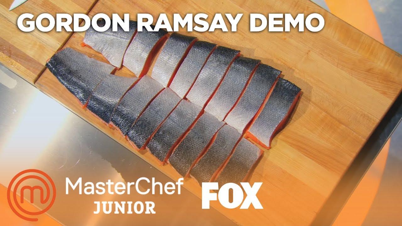 Gordon Ramsay Demonstrates How To Filet A Salmon  Season 2 Ep 6   Masterchef Junior