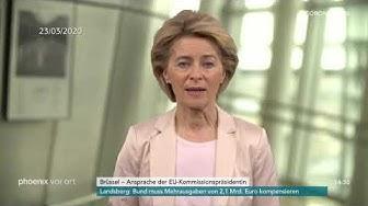 EU-Kommissionspräsidentin Ursula von der Leyen zur Lage im Kampf gegen das Coronavirus am 23.03.20