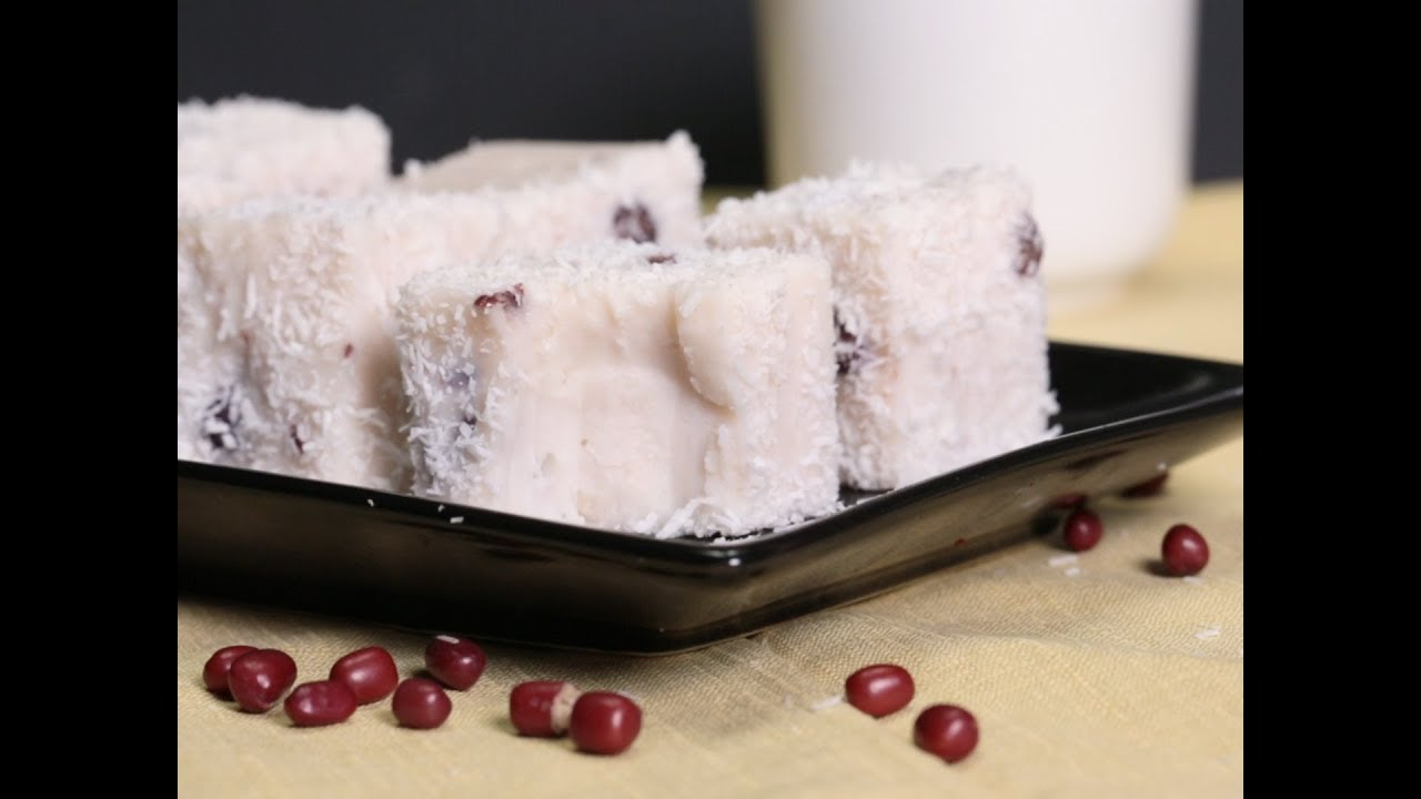 紅豆雪花糕 Red Bean Snow Cake - YouTube
